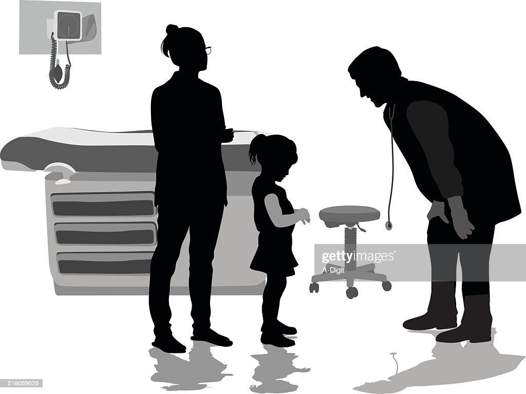 Little Girl Patient Telling The Pediatrician