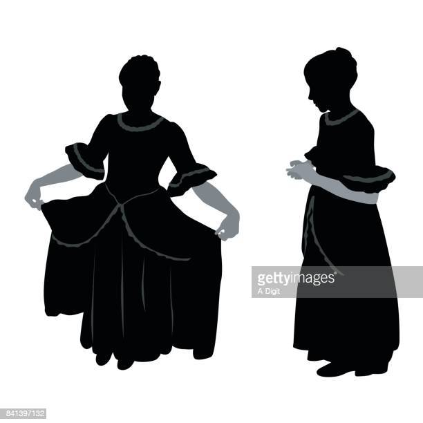 little girl period dress - actress stock illustrations