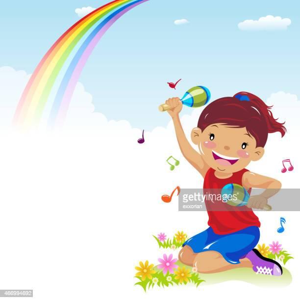little girl playing maracas in spring - maracas stock illustrations