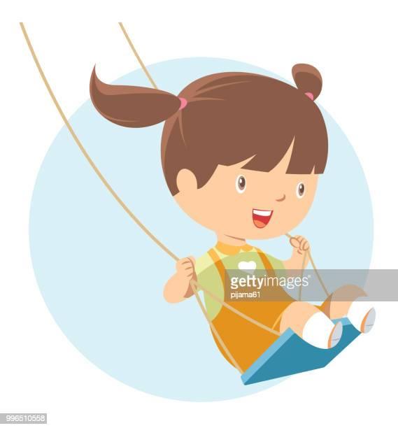 little girl playing on swing - swinging stock illustrations