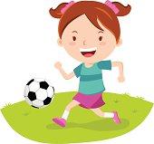 Little girl playing soccer