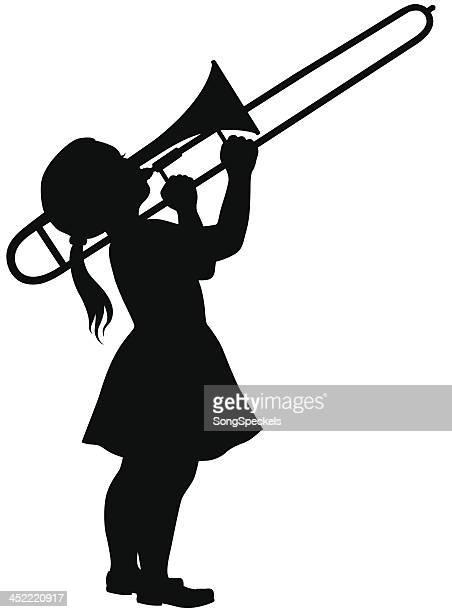 little girl playing trombone - musical instrument stock illustrations, clip art, cartoons, & icons