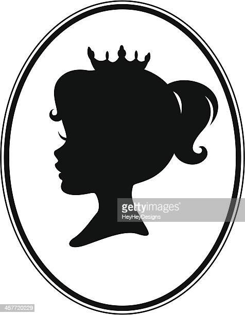 little girl princess cameo silhouette - princess stock illustrations, clip art, cartoons, & icons