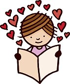 Little girl reading a book with love hearts
