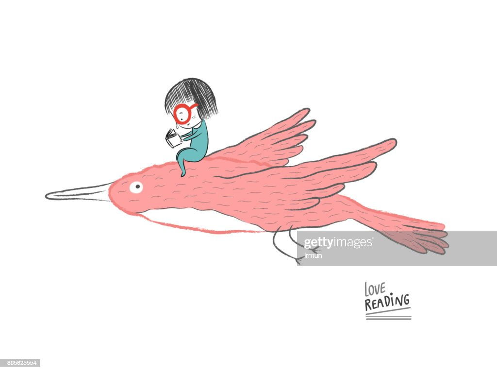 Little girl reading on a big bird, vector illustration