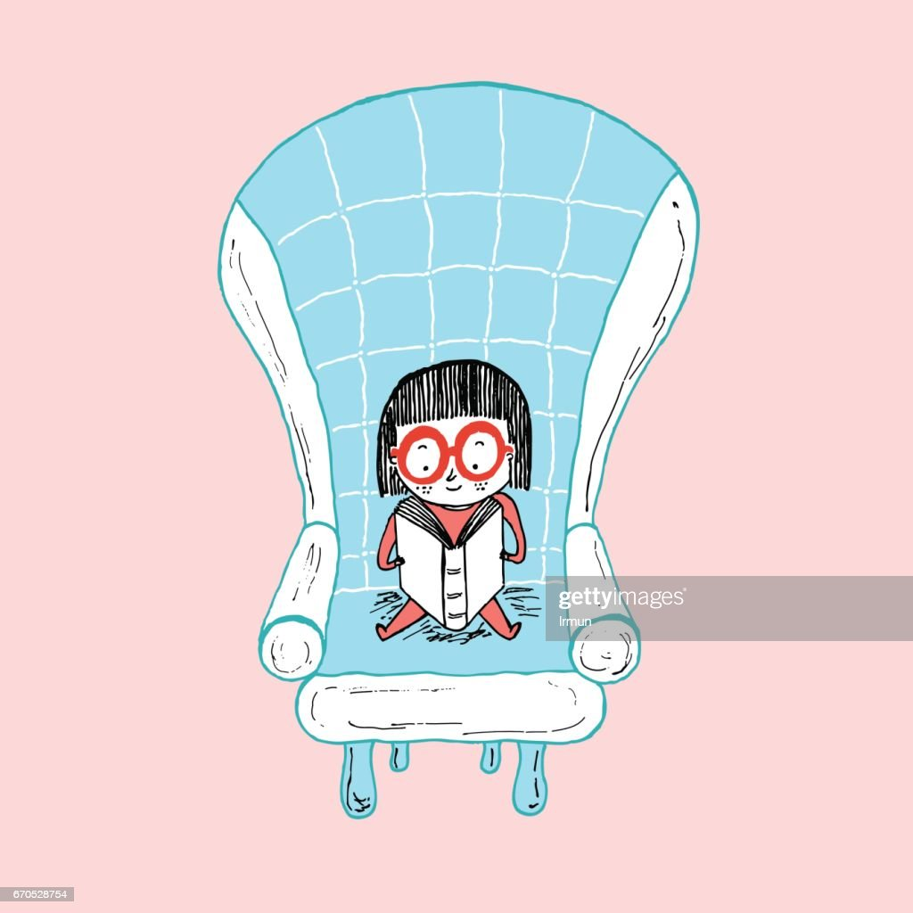 Little girl reading sitting on a sofa, hand drawn vector illustration