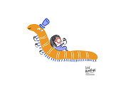 Little girl reading with Mr. Worm, vector illustration