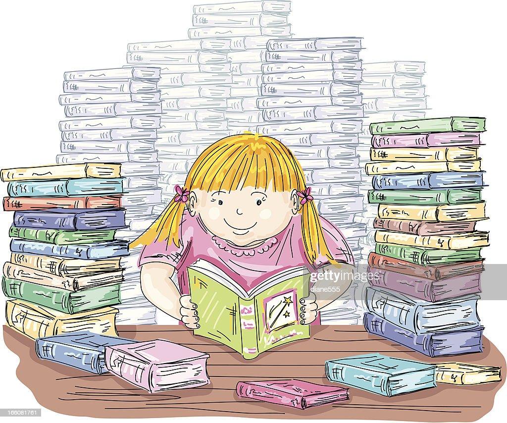 Little Girl Reading With Stacks Of Books : stock illustration