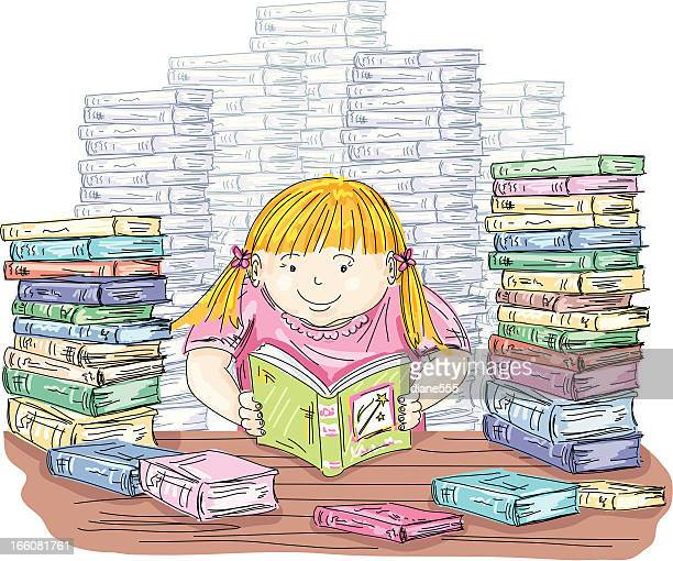 little girl reading with stacks of books - one girl only stock illustrations, clip art, cartoons, & icons