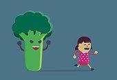 Little girl run away from broccoli.