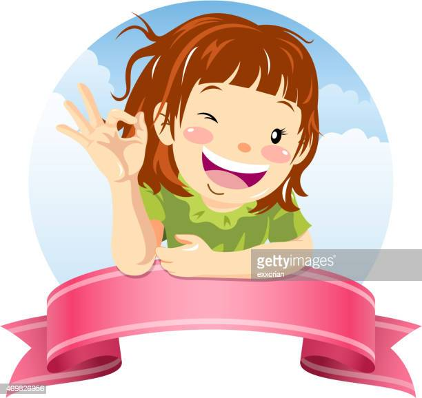 little girl showing ok gesture with ribbon banner - blink stock illustrations, clip art, cartoons, & icons