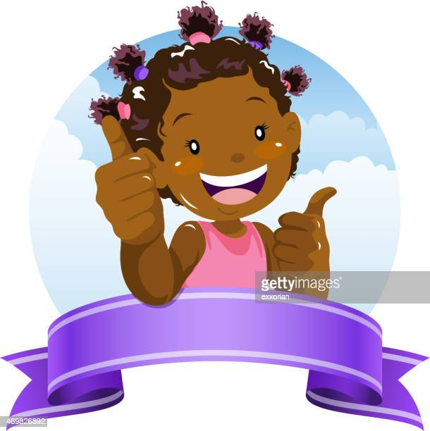 Little girl showing thumb up gesture with ribbon banner