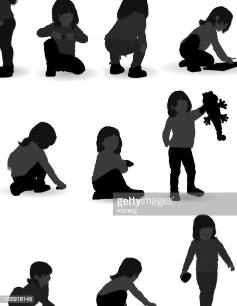 ilustrações de stock, clip art, desenhos animados e ícones de rapariga silhueta - cabelo liso