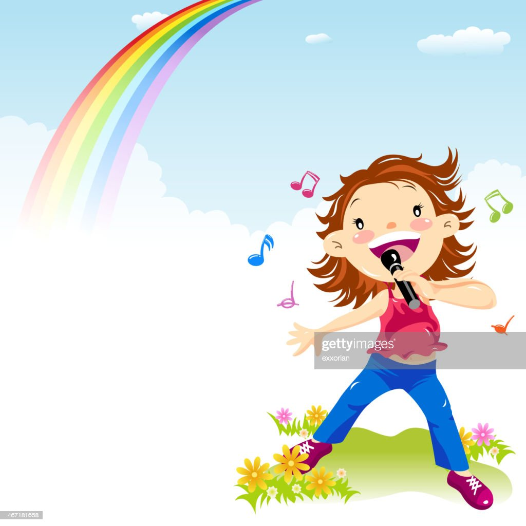 Little Girl Singing in Spring