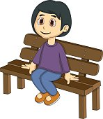 Little girl sitting on a bench cartoon