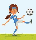 Little girl soccer character play football