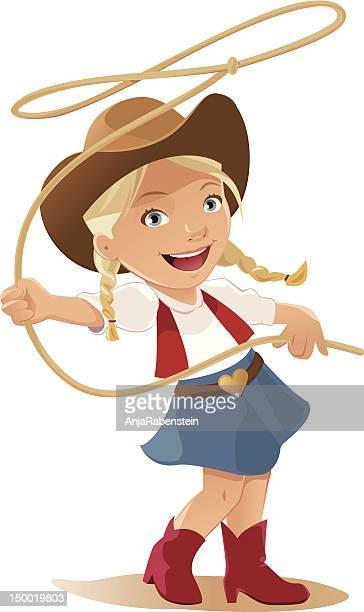 illustrations, cliparts, dessins animés et icônes de petite fille se balancer lasso habillé comme une cow-girl - cowgirl