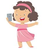 Little girl taking a selfie