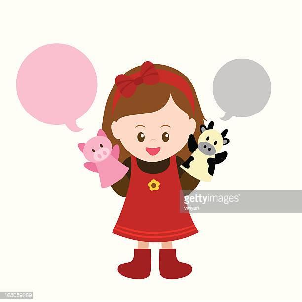 ilustraciones, imágenes clip art, dibujos animados e iconos de stock de little girl hablar con su puppets - puppet