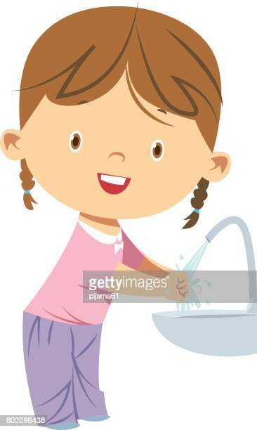 little girl washing hands - washing hands stock illustrations