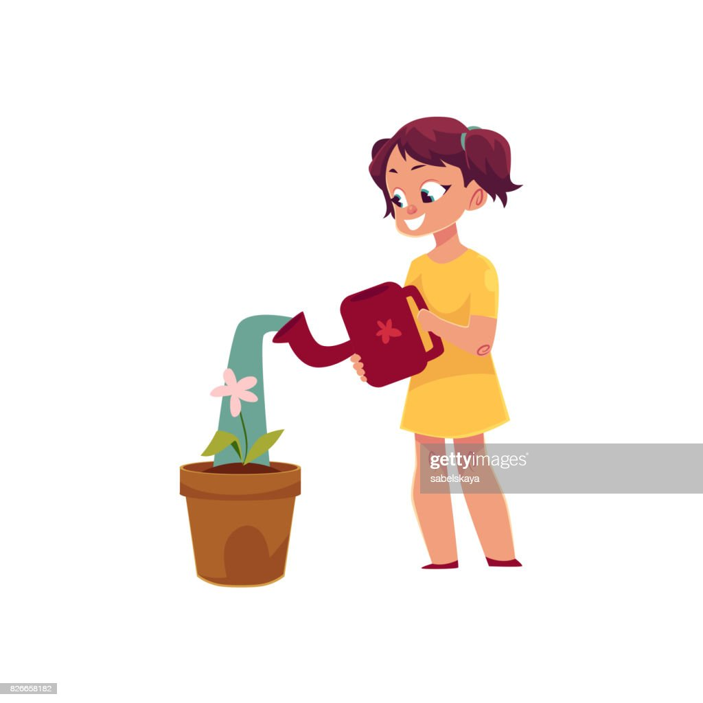 Little girl watering houseplant, pot flower