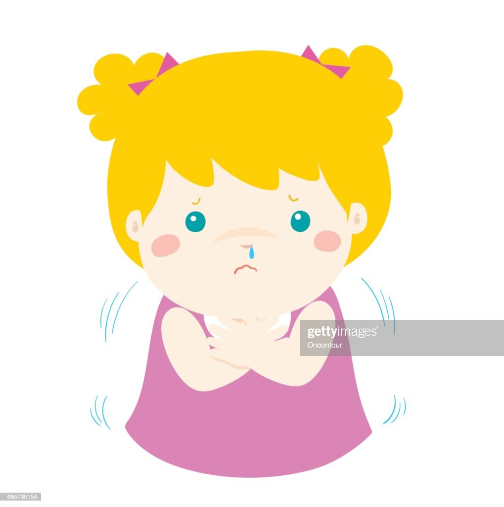 Little girl with a cold shivering cartoon vector.