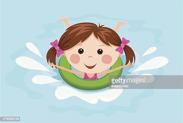 illustrations, cliparts, dessins animés et icônes de petite fille avec un anneau éclabousser dans l'eau - matelas pneumatique