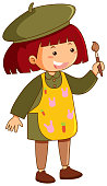 Little girl with apron and paintbrush