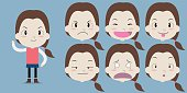 Little girl with emotion face - Vector