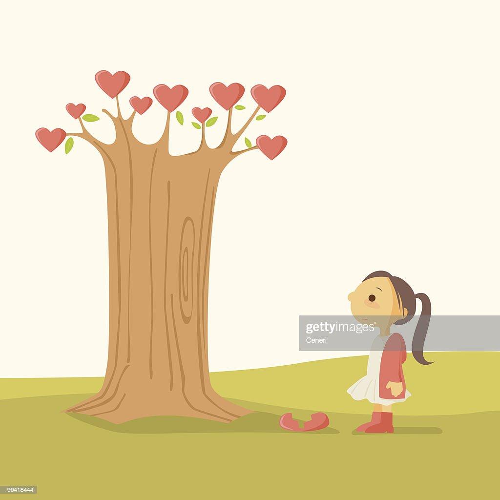Little Girl with Heart Break Tree : stock illustration