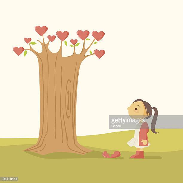 little girl with heart break tree - one girl only stock illustrations, clip art, cartoons, & icons