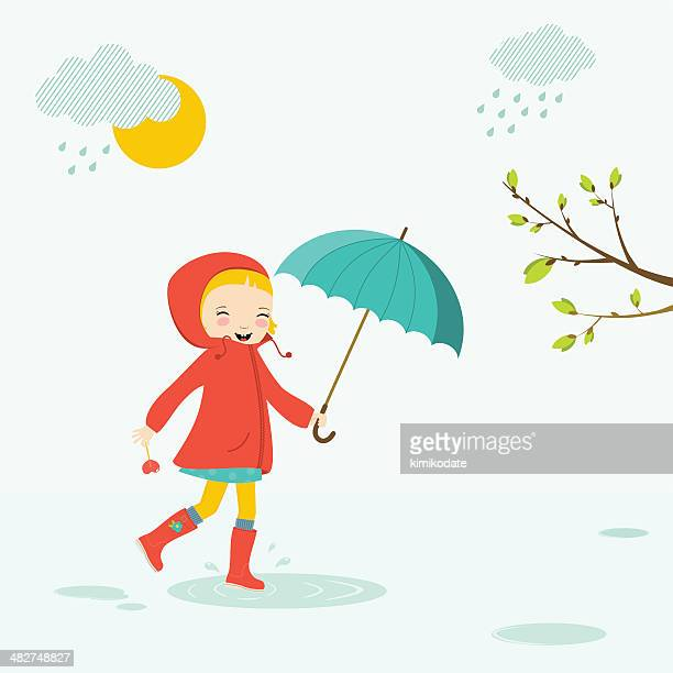 little girl with umbrella - puddle stock illustrations, clip art, cartoons, & icons