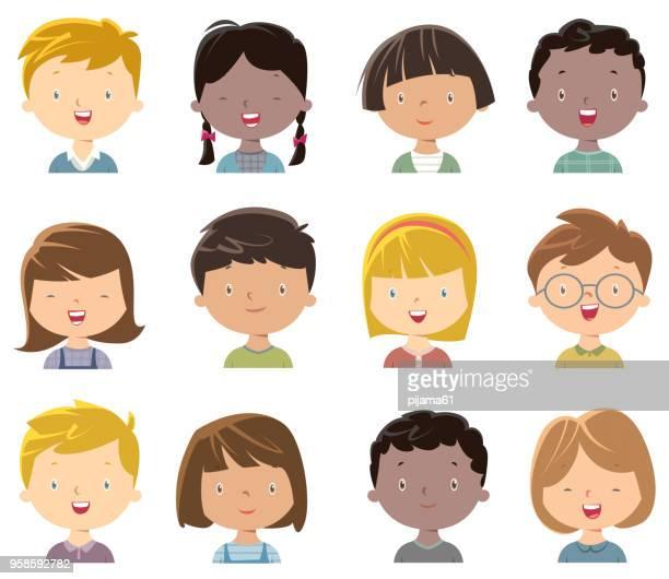 ilustrações de stock, clip art, desenhos animados e ícones de little girls and boys face set 2 - loira
