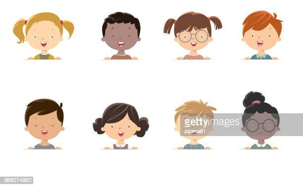 little girls and boys face - human face stock illustrations