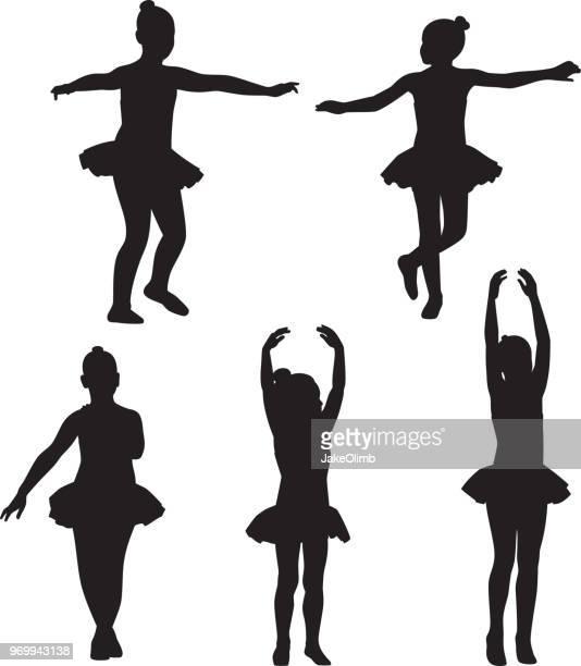 ilustraciones, imágenes clip art, dibujos animados e iconos de stock de siluetas de ballet de niñas pequeñas - baile moderno