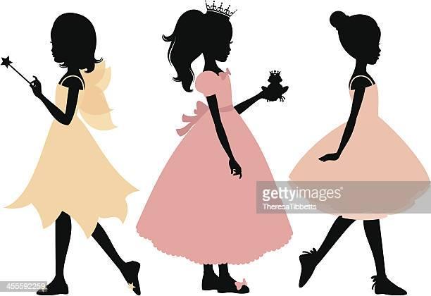 little girl's costumes - princess stock illustrations, clip art, cartoons, & icons