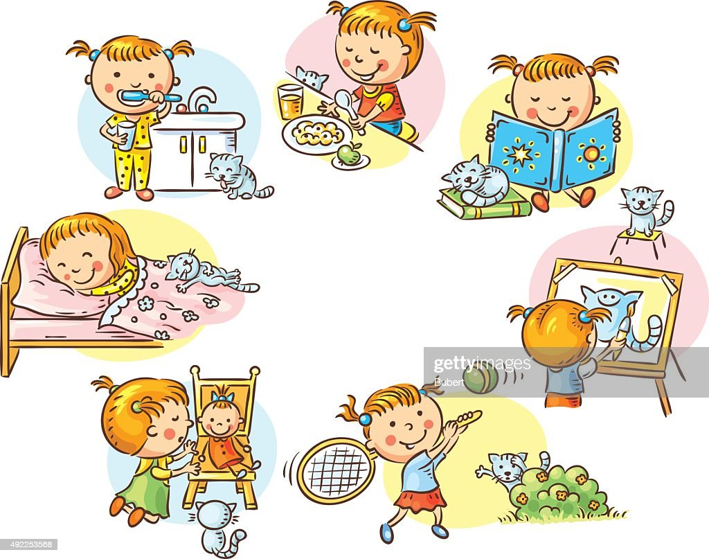 Little girl's daily activities, colorful cartoon