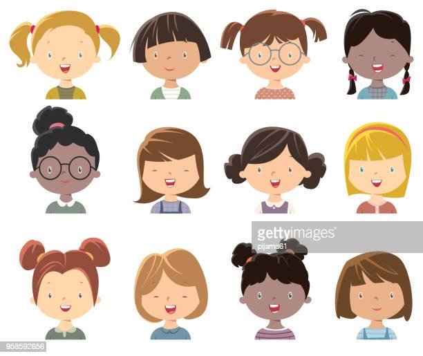 illustrazioni stock, clip art, cartoni animati e icone di tendenza di little girls face - bambine femmine