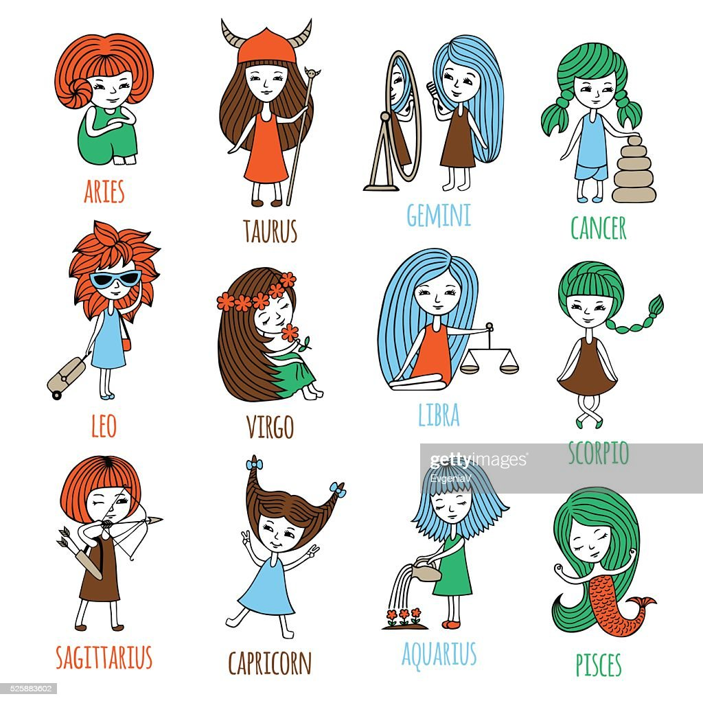 Little girls in the form of zodiac signs.