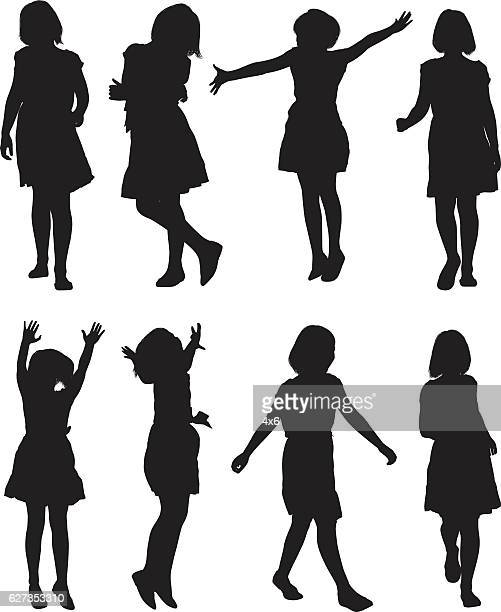 Little Girls In Various Action High Res Vector Graphic