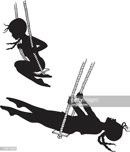 little girls on swings silhouettes - braided hair stock illustrations, clip art, cartoons, & icons