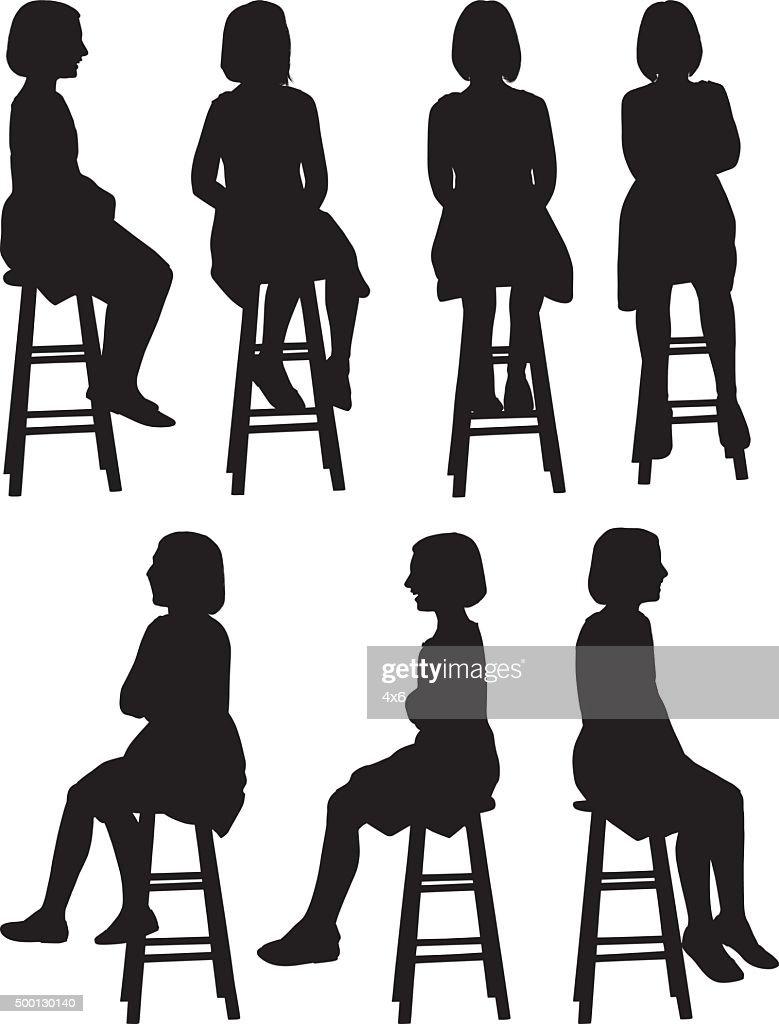 Meninas sentada no banco : Ilustração