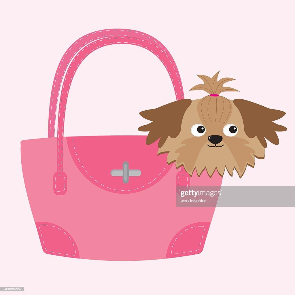 Little glamour tan Shih Tzu dog in the pink bag.