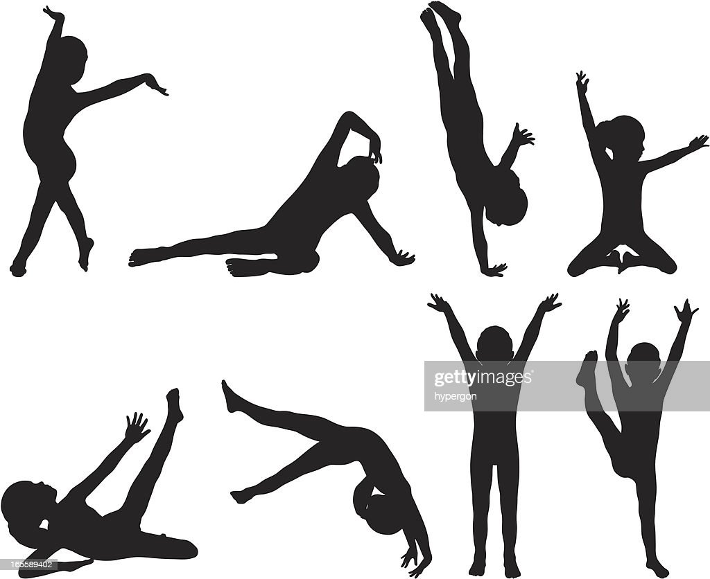 little gymnast silhouettes vector art getty images