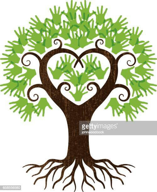 little handy heart tree illustration - root stock illustrations, clip art, cartoons, & icons