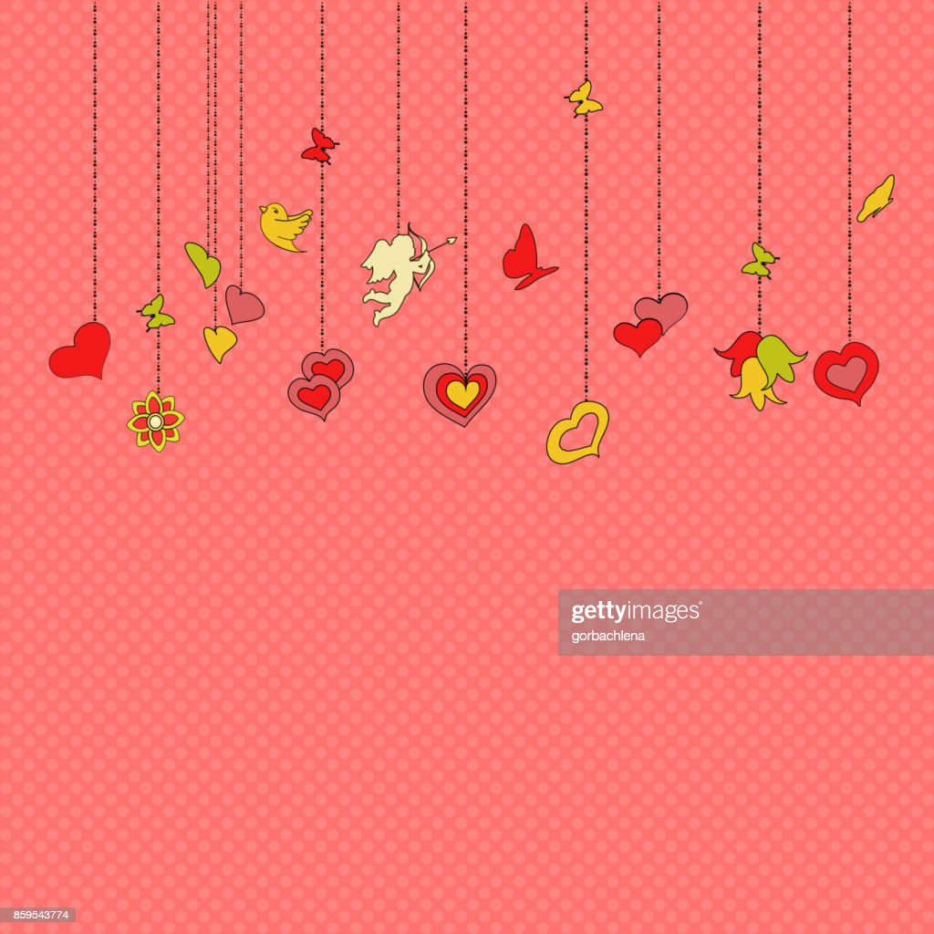 Little hanging hearts and other decorations on pink background. Greeting card for Valentine's day, Mother Day, or Wedding Engagement invintation. Save the date card. romantic vector illustration.