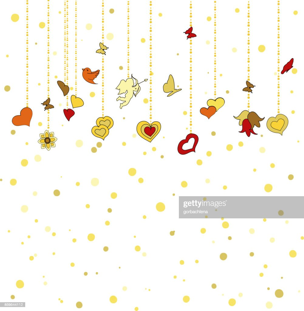 Little hanging hearts, other decorations on golden dots background. Greeting card for Valentine's day, february 14, or Wedding Engagement invintation. Save the date card. romantic vector illustration.