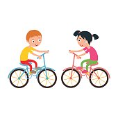 Little happy boy and girl on sport bike vector illustration.
