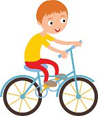 Little happy boy on his sport bike active lifestyle cartoon