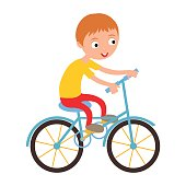 Little happy boy on his sport bike vector illustration.